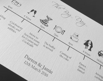 Wedding Timeline, Order of the Day cards, order of service, wedding day, personalised timeline, printed wedding stationery