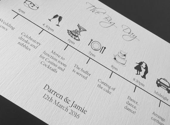 Wedding Order Of The Day: Wedding Timeline Order Of The Day Cards Order Of Service