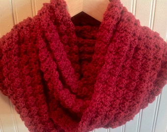 Red Infinity Scarf, Red Scarf, Red Crochet Scarf, Red Circle Scarf, Red Loop Scarf, Ready to Ship, Women's Scarf, Handmade  Scarf