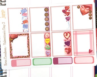 Valentine's Day 2 Full Boxes - for use with Erin Condren Vertical Planner Sticker Sheets - February love hearts kisses
