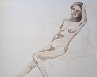 Figurative Original Watercolor Woman Painting, Fine Art Painting, Female Figure Drawing, Female Nudity Art, Naked Woman Art, Figure Painting