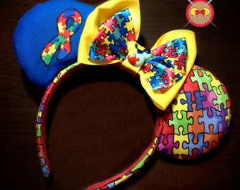 Autism Awareness Mickey Ear Headband with Embroidered Puzzle Piece Ribbon