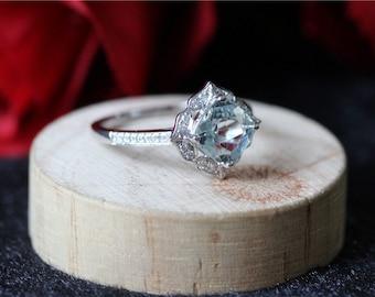 14/18K White Gold Cushion Cut Aquamarine Engagement Ring/Vintage Floral Aquamarine Engagement Ring Diamond and 7mm Cushion Aquamarine Ring