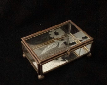 Brass, Glass and Mirrored 1970s jewelry or trinket box, footed.