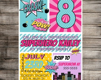 Superhero Digital Invitation, Super Hero Birthday Invitation, Super Hero Party, Comic Invite,Childs Invitation- Printable Invitation