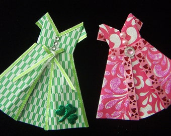 Origami Dresses  Valentine Day  St. Patrick's Mother's Day  Origami Dress for Cards Scrapbooking Embellishment DIY CLEARANCE SALE