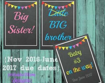 Big Sibling Signs- Pregnancy Announcement- Big Sis, Big Bro- instant download