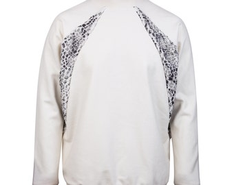 White mixed material jacket