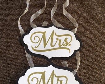 Mr and Mrs chair signs, wedding sign, ceremony sign, wedding decor