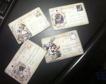 FOUR Vintage Alice in Wonderland Postcard Hang tags / Gift tags