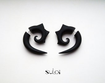 Fake gauge earrings black spiral with thorns