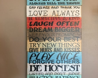 Family Rules Planked Wood Distressed Ready to Ship!