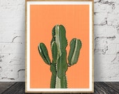 Cactus Print, Orange,Terracotta, Mexican, Arizona, South Western, Desert, Aztec Art Print, Cactus Print Wall Art Decor, Printable Art