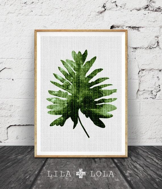 Tropical Leaves Wall Decor : Palm leaf print botanical wall art large printable poster