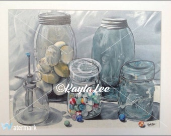 Antique Glass Jar Art Print