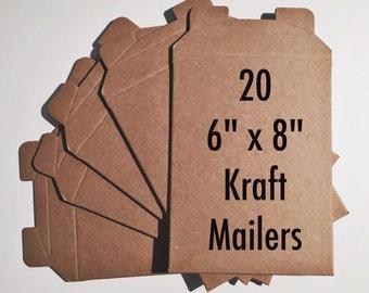 20 Rigid Kraft Mailers 6 x 8