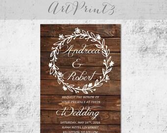 Rustic Wedding Invitation Printable, Floral Wreath Wedding Invitation, Country Wedding Invite, Vintage Wedding Invitation Printable