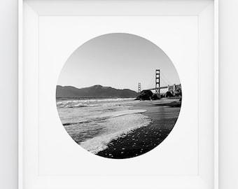 San Francisco Circle Print ,Circle Print ,  Circle Photo , San Francisco Circle photography ,  Golden Gate Art,  Black & White Print 12 x 12