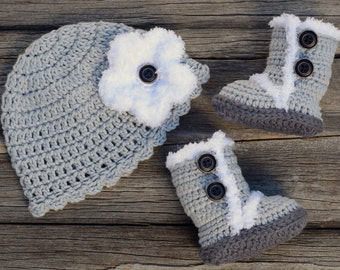 Crochet Baby Beanie and Boot Set, Gray Crochet Hat and Boots, Baby Girl Hat and Booties, Gift