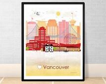Vancouver print poster Wall art Vancouver skyline Vancouver Canada City poster Printable download Home Decor Digital Print GreenGreenDreams