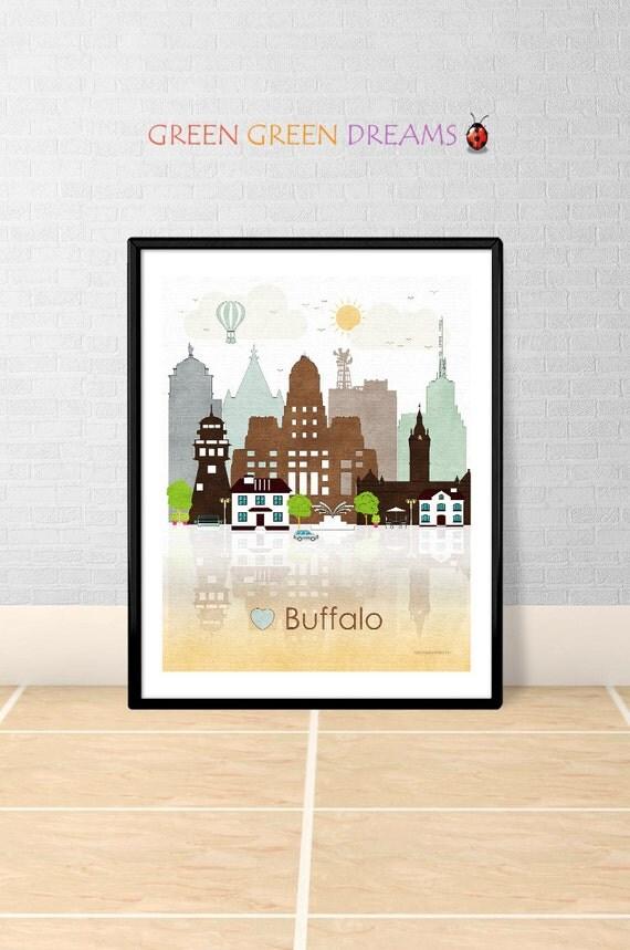Buffalo Print Wall Art Poster Buffalo New York By