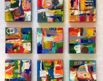 9 abstract, colorful palette knife mini paintings mixed media collage