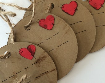 Distressed cardstock gift tags , heart ,