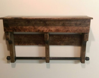rustic towel rack pallet wood industrial by. Black Bedroom Furniture Sets. Home Design Ideas