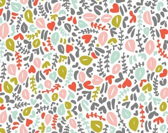 Fabric 100% Organic-Cloud 9- Kindred-Turquoise Peach Pink