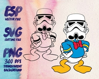 Donald duck trooper    Star wars Clipart , SVG Cutting , ESP Vectors files , T shirt , iron on , sticker ,Personal Use