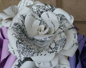 Winnie the Pooh B&W Book Bouquet--Book lover gift-Book Bouquet-Book decor- Unique Gift- Bridal Bouquet- Paper Roses-Nursery- valentines