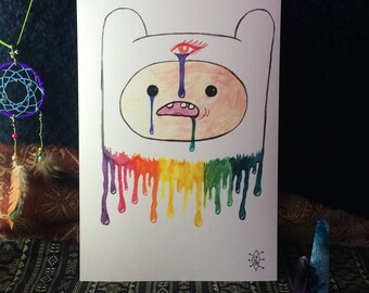 Finn the Human from Adventure Time A4 Trippy Drippy Watercolour Portrait Print
