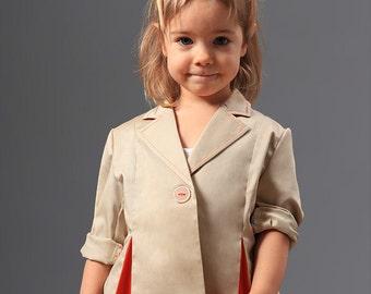 Girls' jacket with pleats - Girls' Jacket/ Kids Jacket/ Children Boutique Jacket/ Toddler Girls' Jacket/ Girls' Clothing