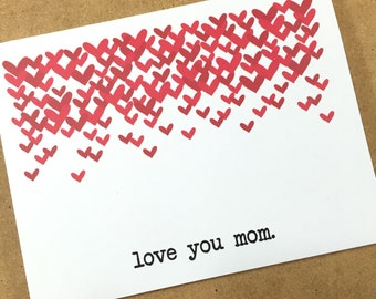 Love You Mom Mother's Day Card.  Red Hearts for Mom.