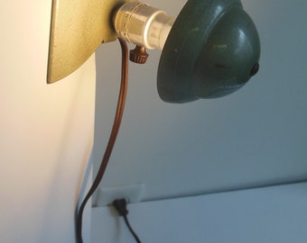 Olive Green Vintage Clamp Lamp From the 1950s