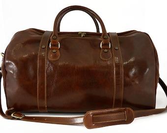 Genuine Leather Travel Bag - Crusoe - Tuscan Leather, Genuine Leather Travel Bag 100% made in italy
