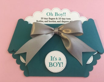 Diaper shape teal & grey baby shower
