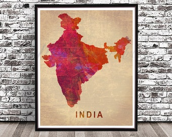 Vintage India country map PRINT, watercolor painting POSTER, wall art, city skyline, cityscape Indian New Delhi Taj Mahal Hindu red