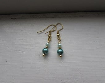Teal and Seafoam Green Faux Pearl Earrings