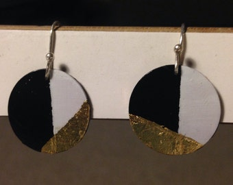 Black, White and Gold earrings