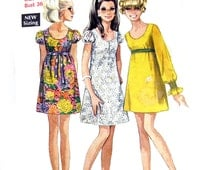 """1968 Simplicity 7631 Misses' A-Line Dress with Puff Sleeves, Round Neckline and Optional Smocking Detail Sewing Pattern Size 14 Bust 36"""""""