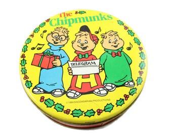 1983 Alvin & The Chipmunks Yellow Christmas Tin Vintage