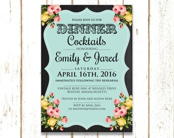 Rehearsal dinner invites, Printable rehearsal dinner invitation, Shabby Chic Wedding rehearsal dinner invitation, Rustic Rehearsal Invite