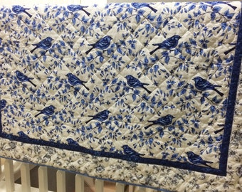 SALE Lap Quilt, Throw Quilt, Blue Lap Quilt, Blue Throw Quilt, Mothers Day Gift , Bird, Blue and White Quilt, Blue and White Throw