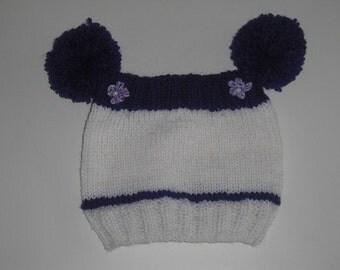 Baby Hat - Hat KU 32-41 cm - hats - girls Cap - Beanie - Bobble Hat - headgear - handmade