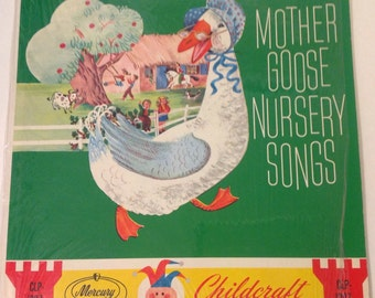 Vintage LP, Mother Goose Nursery Songs, Childcraft, Mercury Records, Pink Cttage