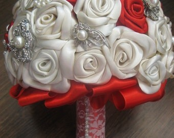 Red & Ivory Wedding Brooch Bouquet,Satin Ribbon Flower Bouquet