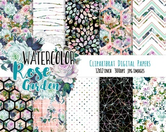 WATERCOLOR FLORAL Digital Paper Pack Commercial Use Background Paper Peach & Mint Romantic Roses Shabby Chic Digital Paper Wood Hexagon Dots