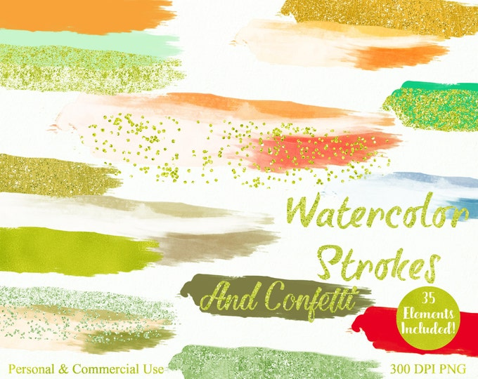 WATERCOLOR & GOLD CONFETTI Strokes Clipart Commercial Use Clipart 35 Watercolor Brush Splotch Peach Coral Mint Watercolor Logo Clip Art