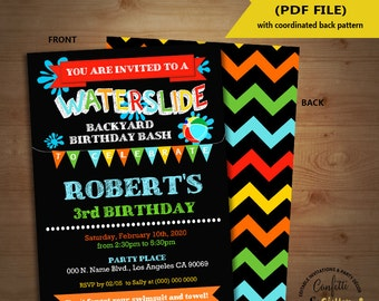 Waterslide birthday bash invitation backyard summer pool party chalkboard invite Instant Download YOU EDIT TEXT and print invite 5259